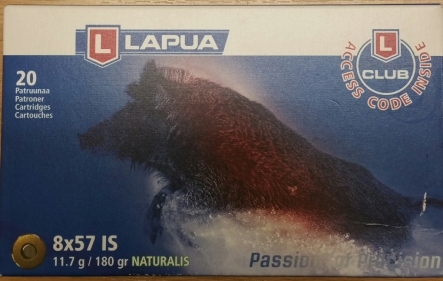 LAPUA  Naturalis Kal. 8 x 57 IS,  11,7 g / 180 gr.